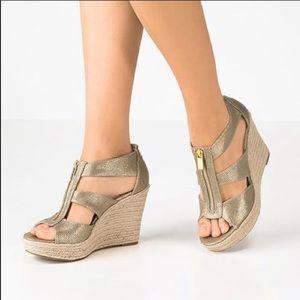 Michael Kors Berkley Gold Espadrille Wedge Sandals